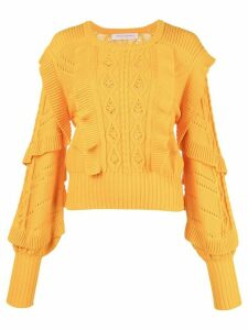 Carolina Herrera cable stitch ruffled sweater - Yellow