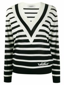 Valentino V-neck striped jumper - Black