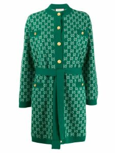 Gucci GG print belted cardigan - Green