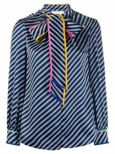 Tory Burch bow tie bias stripe blouse - Blue