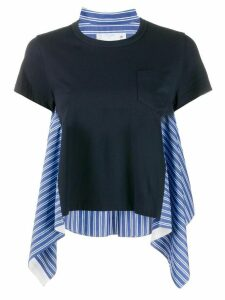 Sacai striped sides T-shirt - Blue