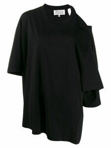 Maison Margiela cut-out shoulder asymmetric T-shirt - Black