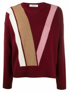 Valentino intarsia virgin wool jumper - Red