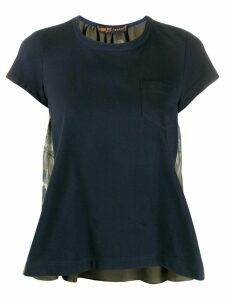 Sacai contrast foliage-print blouse - Blue