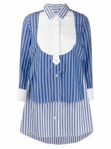 Sacai striped-print layered shirt - Blue