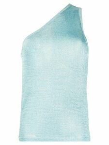 Missoni one-shoulder metallic knitted top - Blue