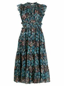 Ulla Johnson abstract print midi dress - Blue