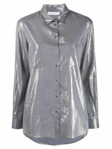 Fabiana Filippi beaded-collar lamé shirt - Grey