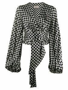 Alexandre Vauthier polka dot tie-front blouse - White