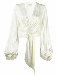 Alexandre Vauthier tie-front satin cropped blouse - NEUTRALS