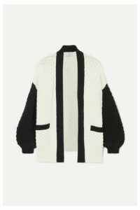 Co - Two-tone Silk And Cotton-blend Cardigan - Black