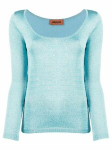 Missoni metallic stretch-knit jumper - Blue