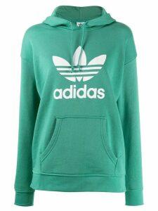 adidas Adicolor Trefoil-print cotton hoodie - Green