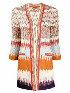 Missoni long line crochet-knit cardigan - Brown