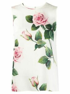 Dolce & Gabbana tropical rose print blouse - White