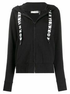 DKNY logo trim zip hoodie - Black
