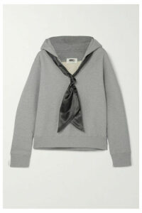 MM6 Maison Margiela - Satin-trimmed Cotton-jersey Hoodie - Gray