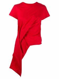 Marques'Almeida short sleeve draped detail T-shirt - Red