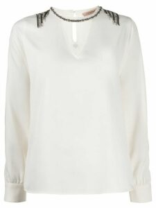 Twin-Set embellished blouse - NEUTRALS