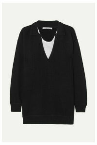 alexanderwang.t - Layered Ribbed Wool And Cotton-jersey Sweater - Black