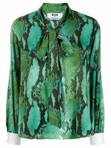 MSGM snakeskin print blouse - Green
