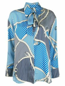 MSGM belt print bow blouse - Blue