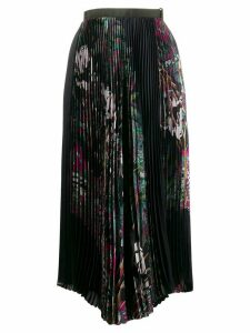 Sacai pleated palm tree print skirt - Blue