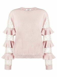 Valentino ruffled lace-sleeve jumper - PINK