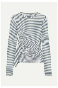 Paco Rabanne - Asymmetric Striped Stretch-cotton Jersey Top - Navy