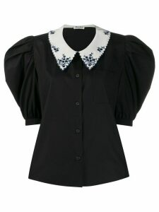 Miu Miu power shoulder blouse - Black