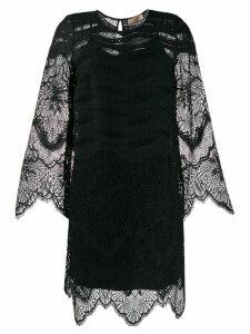 Twin-Set lace scallop-trimmed mini dress - Black