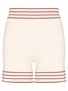 Odyssee stripe trim knit shorts - NEUTRALS