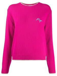 MSGM embroidered logo jumper - PINK