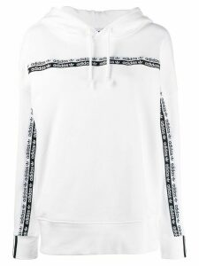 adidas logo tape cotton hoodie - White