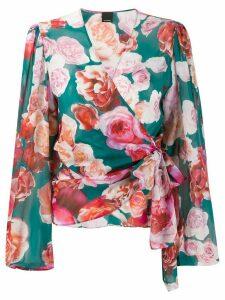Pinko rose-print wrap blouse - Green