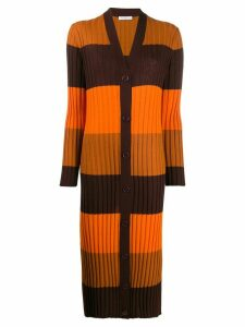 Equipment longline ribbed knit cardigan - ORANGE