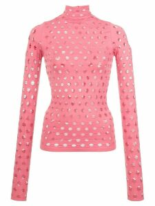 Maisie Wilen perforated style roll-neck top - PINK