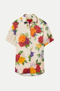 Commission - Banker Floral-print Satin-twill Shirt - Beige