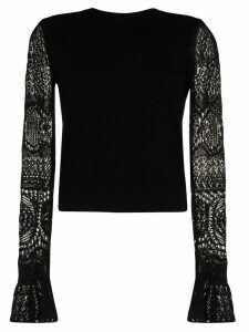 Alexander McQueen crochet sleeve knit top - Black