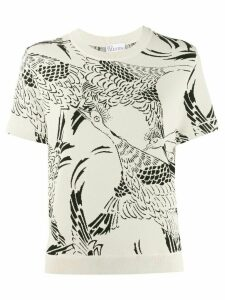 RedValentino bird print knitted top - NEUTRALS
