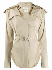 Bottega Veneta shoulder pockets belted shirt - NEUTRALS