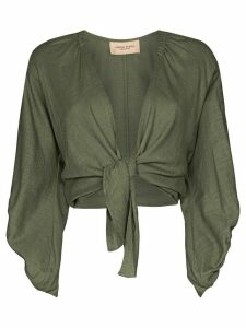 Adriana Degreas wrap tie cropped top - Green