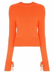 Victoria Beckham tie sleeve long-sleeved jumper - ORANGE