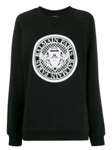 Balmain logo ribbed crew neck sweatshirt - Black