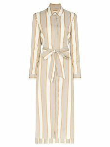 Odyssee belted striped shirt dress - Brown