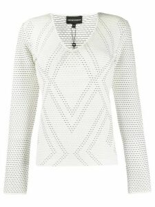 Emporio Armani geometric pattern knit jumper - White