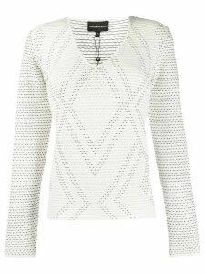 Emporio Armani geometric pattern knit jumper - White