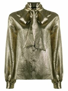 Saint Laurent metallic pussy-bow blouse - GOLD