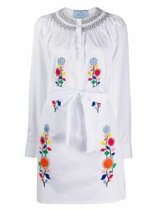 Prada floral embroidered dress - White