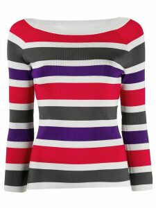 Emporio Armani ribbed knit striped jumper - Red